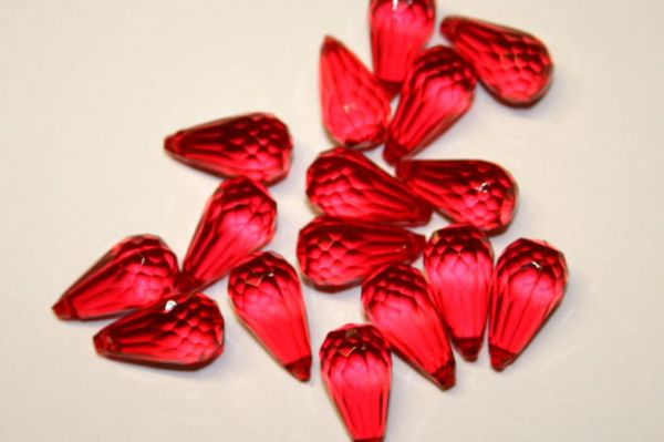 Red Pear Drop Acrylic Beads- 35 pces- 18mm x 8mm